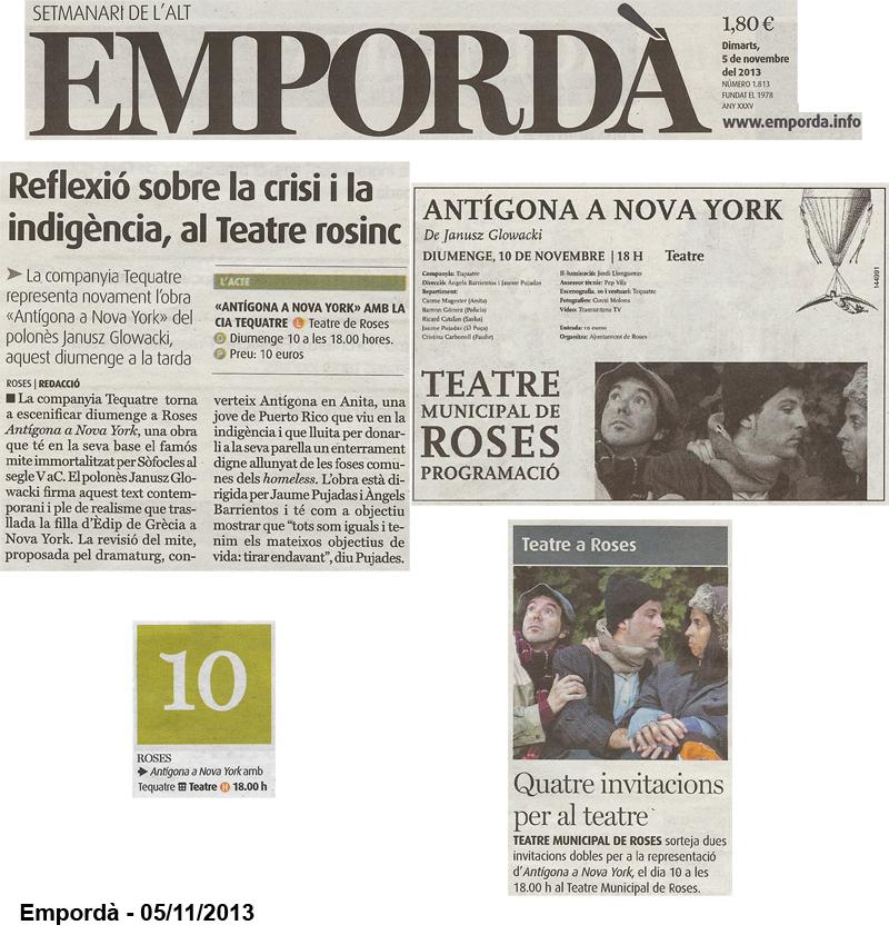 13-11-05 Empordà - Tequatre - Antigona a NY - Roses - P